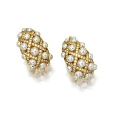 Pair of cultured pearl and diamond earclips, Chanel | lot | Sotheby's
