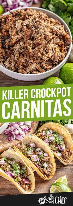 Killer Crockpot Carnitas (Slow Cooker) The best crockpot carnitas you'll ever have! Killer Crockpot Pork Carnitas made in your slow cooker so it couldn't be easier! Crockpot Dishes, Crock Pot Cooking, Pork Dishes, Cooking Recipes, Crockpot Pork Recipes, Slow Cooker Pork Carnitas, Slow Cooker Tacos, Slow Cooker Recipes Simple, Taco Meat In Crockpot
