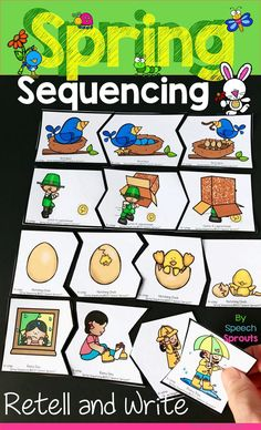 $ Adorable 3 and four-step Spring picture sequences for 24 different stories. Practice sequencing, retelling and writing with puzzles, cards and printables too!