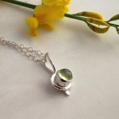 Fine and Sterling Silver Prehnite Necklace by AdobeSol on Etsy
