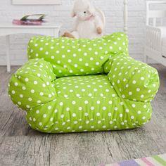 Twill Polka Dot Mi Kids Bean Bag Chair | Hayneedle Baby Bean Bag Chair, Bean Bag Bed, Bean Bag Design, Portable High Chairs, Deck Chairs, Bag Chairs, Adirondack Chairs, Kids Bean Bags, Patterned Chair