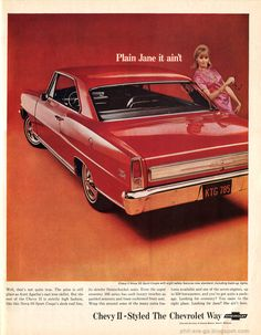 "Chevy II - Red vrum. Red vrum. This ad features the 1966 ""Chevy II"", which was available in a special sporty trim that was called the ""Nova""."