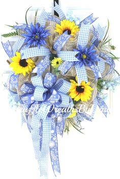 Deco Mesh Spring Sunflower Wreath Spring by WruffleWreathsbyLana