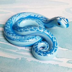 Water Element Themed Snake. Handmade, Blue Polymer Clay Reptile, Crafted by The Clay Kiosk on Etsy.