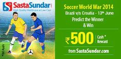 #Predict which team will win the match between #Brazil and #Croatia in #SoccerWorldWar 2014 on 13th June.  http://www.foreseegame.com/user/GamePlay.aspx?GameID=pwWATq6i2%2f8HJ9RrU%2fMp5A%3d%3d