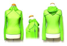 Green mesh hooded top with original microchip style logo on arm.