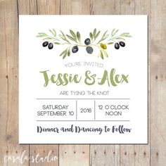 Olive Branch Mountain Rustic Wedding Invitation Bridal Shower Printable Invitation OR Printed Card