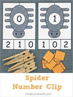 spider number clip for preschool and kindergarten