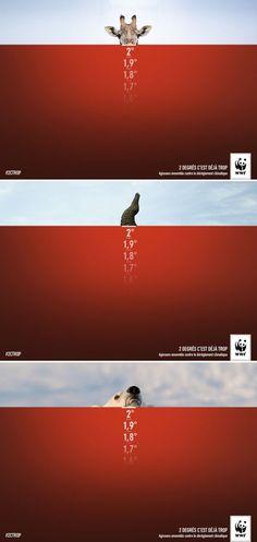 cool Publicité - Creative advertising campaign - WWF: 2 degrés c'est déjà tro...