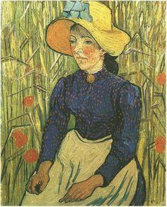 10º Postimpresionismo.   Mujer campesina de Vincent Van Gogh,  1890, Museo Colección Particular, 92 x 73 cm.  Neo-Impresionismo, Oleo sobre lienzo. Se produce una mayor libertad en las pinceladas, con un gran uso del color vivo, la realidad se interpreta según el artista realzando el color. Con pinceladas sueltas que se pueden apreciar a simple vista.