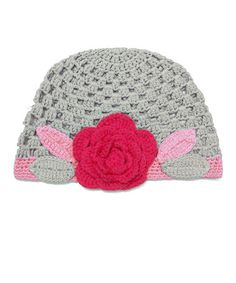 Take a look at this Gray Rose Flower Crochet Cloche Beanie by Huggalugs on #zulily today!