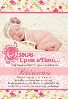 Fairy Tale Princess Birth Announcement-Digital File Only