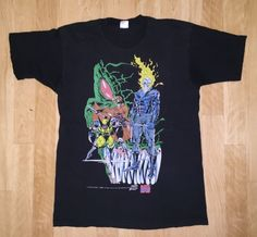90s Vintage X-MEN Shirt Original 1990s MARVEL Promo COMIC Wolverine Ghost Rider