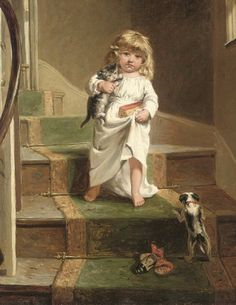 """""""Girl with Kittens on Stairs"""" -- by Arthur John Elsley (1860--1952, English)"""