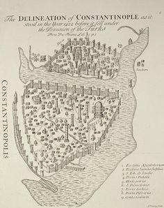Map of Constantinople in 1422 by Cristoforo Buondelmonti