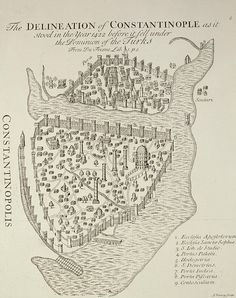 Map of Constantinople in 1422 by Cristoforo Buondelmonti