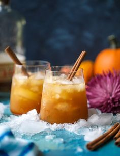 This pumpkin pie cocktail starts with homemade pumpkin syrup and finishes with bourbon and bitters and spices for the perfect smash.