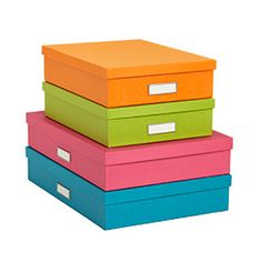 The Container Store > Bright Stockholm Office Storage Boxes    $9.99  These could be cute. They are not the original ones I saw, but they could be used on the bookcase