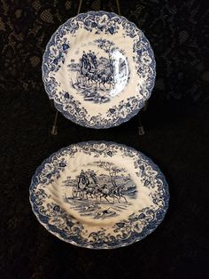 Johnson Brothers of England, Salad Plate, Ironstone, Coaching Scenes Pattern, Cobalt Blue & White Transferware, Hunting Country, 2 Available Vintage Plates, Retro Vintage, Antique Hutch, Johnson Brothers, Kitchen Ware, Pattern Names, Salad Plates, China Dinnerware, Purple Amethyst