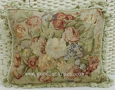 """16""""x20"""" French Aubusson Design Roses Wool Needlepoint Decorative Pillow Cushion"""