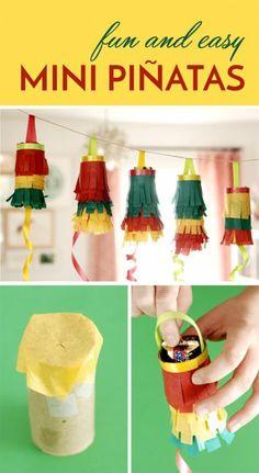 mini pinatas, laternen, buntes papier, süßigkeiten, girlande