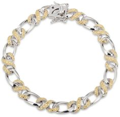 Zales Enhanced Yellow Diamond Accent Infinity Braid Bracelet in Sterling Silver and 18K Gold Plate - 7.25""