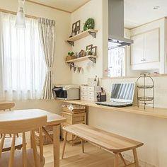 女性で、4LDKの、Lounge/ナチュラル/DIY/北欧/アイアン/北欧モダン/ナチュラルフレンチ/木の家/雑貨♡/ホタテ漆喰/もみの木の家/しっくいの家/よいこが育つ間取りについてのインテリア実例。 「K様邸のリビングです...」 (2016-07-18 16:40:35に共有されました) Cafe Interior, Apartment Interior, Interior Design, Home Room Design, Home Office Design, Japanese Living Rooms, Muji Home, Minimal House Design, Small Home Offices
