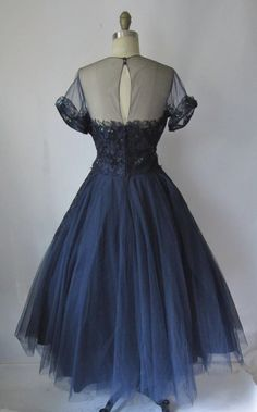 Vintage 1950's Frank Starr Navy Sequin Tulle Lace Dress