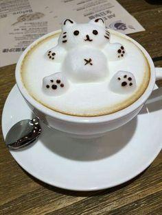 Art latte cat