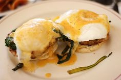 poached organic eggs with Fontina biscuits, sausage, greens, and hollandaise Organic Eggs, Little Owl, Greenwich Village, Sausage, Biscuits, Brunch, Nyc, Breakfast, Food