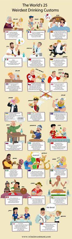 Най-странните алкохолни обичаи в света (инфографика)