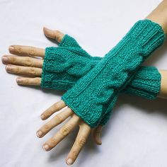Arm warmers – Knitted mittens in marine blue colour – a unique product by Gosieszka on DaWanda
