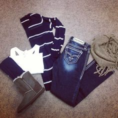 Cute casual: dark jeans + navy striped l/s + white tank + uggs + tan scarf