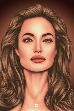 Angelina Jolie fan art by gersonvexelart on DeviantArt Vector Portrait, Digital Portrait, Portrait Art, Portrait Cartoon, Portraits, Angelina Jolie, Art Sketches, Art Drawings, Arte Black