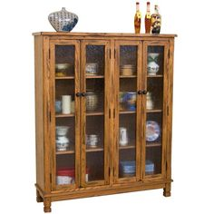 "SD-2814RO - Sedona Rustic Oak 60"" h Bookcase with Doors 49 W x 14 D x 60 H 4…"