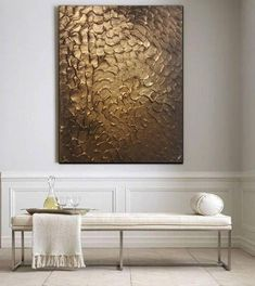 Original Modern Heavy Texture Carved Sculpture Floral Gold Modern Metallic Oil Painting, Home decor artwork. Texture Painting On Canvas, Painting Edges, Grand Art Mural, Modern Color Schemes, Brown Walls, Modern Artwork, Contemporary Home Decor, Art Abstrait, Luxury Living