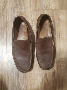 Clarks Mens Brown Leather Driving Moc Loafers Shoes size 8.5  fashion   clothing  shoes cd7c434a5
