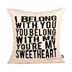 """Sweetheart Pillow Cover // 16""""x16"""" Black on Natural Linen Weave Hand Printed Silk Screen"""