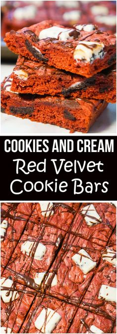 Cookies and Cream Red Velvet Cookie Bars are an easy dessert recipe made with cake mix. These cake mix cookie bars are loaded with mini Oreo cookies and pieces of Hershey's Cookies and Cream chocolate bars. These would be a great Christmas dessert.