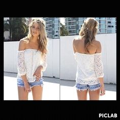 ABC sexy white lace off the shoulder top. $5.73 on Wanelo clothing app.