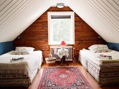 attic ~ love the different wall textures and elements