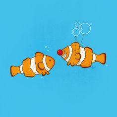 Marlin: Look, Nemo! I'm a CLOWN fish! Get it? Nemo: OMG Dad! You're so embarrassing!