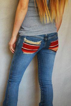 Frankie B Jeans Denim Antique Mexican Blanket Sarape Altered Couture xxs 00