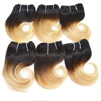 Short Body Wave Human Hair Weaves Human Hair Extensions Ombre Color