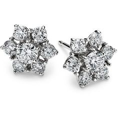 Blue Nile Fleur Diamond Earrings in 18k White Gold (1 1/2 ct. tw.) ($2,660) ❤ liked on Polyvore featuring jewelry, earrings, accessories, brincos, cluster stud earrings, diamond jewelry, 18 karat gold earrings, 18k diamond earrings and round diamond earrings