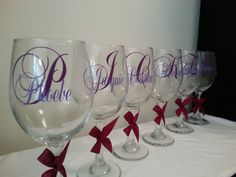 Personalized 2 monograms large wine glass bride bridesmaid birthday party gift Perfect for any occasion 1 glass choose your vinyl colors Party Gifts, Party Favors, Monogrammed Glasses, Large Wine Glass, Gift Card Giveaway, Bridesmaid, Monograms, Unique Jewelry, Handmade Gifts