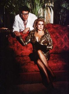 YVES SAINT LAURENT AND CATHERINE DENEUVE by HELMUT NEWTON
