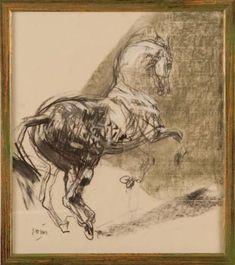 jean louis sauvat | Ventes aux enchères Paris SAUVAT Jean-Louis Cheval Dessin 30 × 40 cm