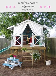 Backyard playhouse above ground for the kids or grandkids.