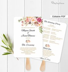 Fan Wedding Program Wedding Fans Template Ceremony Program